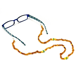 An elegant way to hold onto those glasses. Circular shaped multi-color amber beads including 3 turquoise beads.