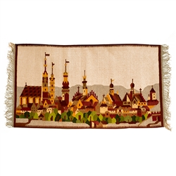Beautiful hand woven wool wall-hanging  highlighting the many church spires in the old town area of Krakow.