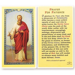 Polish Art Center - St. Paul - Prayer for Patience - Holy Card.  Plastic Coated. Picture and prayer is on the front, text is on the back of the card.