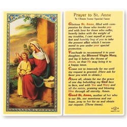 Polish Art Center - St. Anne - Holy Card - Holy Card.  Plastic Coated. Picture and prayer is on the front, text is on the back of the card.