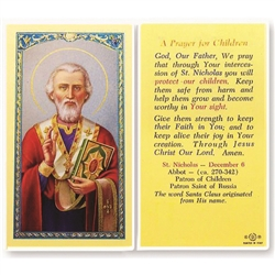 St. Nicholas - Holy Card.  Plastic Coated. Picture is on the front, text is on the back of the card.