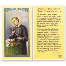Polish Art Center - St. Gerard - Safe Delivery - Holy Card.  Plastic Coated. Picture is on the front, text is on the back of the card.