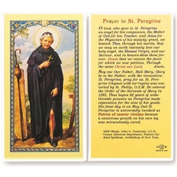 Polish Art Center - St. Peregrine - Holy Card.  Plastic Coated. Picture is on the front, text is on the back of the card.