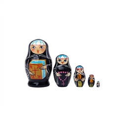 This miniature set of five nesting Russian Orthodox Nuns will elevate your mood.  They come equipped to get you closer to God:  the first carries the Bible, the second a rosary, the next two hold glowing candles, and wee little nun bears a cross.