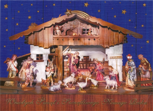 A Beautiful Glossy Christmas Card Featuring A Nativity In A Barn Cover  Greeting In Polish.