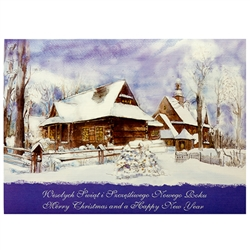 A beautiful glossy Christmas card featuring a Mountain House and Church Cover greeting in Polish and English. Inside greeting in Polish and English