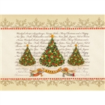 A beautiful glossy Christmas card featuring a classic Christmas tree design with a Gloria! banner. Cover greeting in Polish and English. Inside greeting in Polish and English