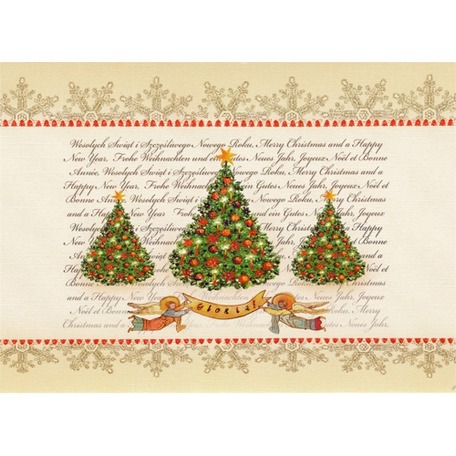 Polish art center polish folk christmas card gloria a beautiful glossy christmas card featuring a classic christmas tree design with a gloria banner m4hsunfo