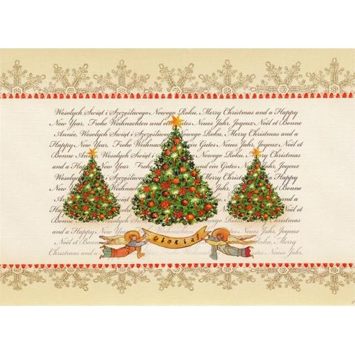 Polish art center polish folk christmas card gloria a beautiful glossy christmas card featuring a classic christmas tree design with a gloria banner m4hsunfo