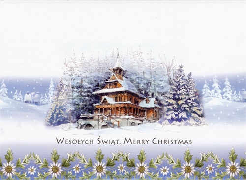 a beautiful glossy christmas card featuring a goral church in winter cover greeting in polish