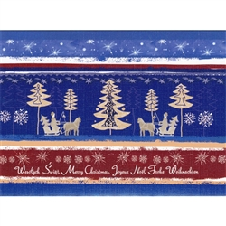 A beautiful glossy Christmas card featuring people in sleighs Going to see the Tree! Cover greeting in Polish and English. Inside greeting in Polish and English
