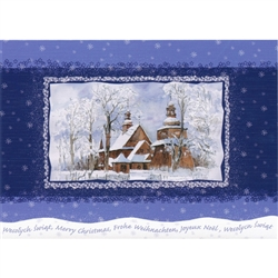 A beautiful glossy Christmas card featuring Goral Mountain Church under a Blanket of Snow. Cover greeting in Polish and English. Inside greeting in Polish and English