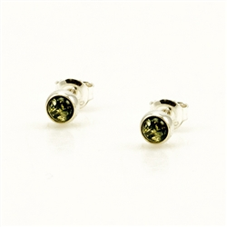 Baltic Amber stud earings with Sterling Silver detail.