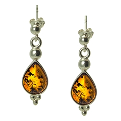 "Honey Amber Teardrop Earrings. Size Approx 1"" x .4"".