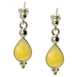 Custard Amber Teardrop Earrings. Amber is soft, only slightly harder than talc, and should be treated with care.