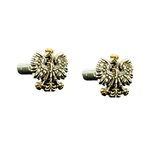 Beautiful pair of thin silver cuff links featuring the Polish Eagle with gold colored crown and talons.