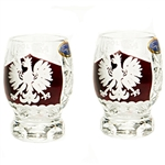 enuine brilliant Polish 24% lead crystal hand cut with an engraved Polish Eagle on a red background and the word Polska above on the front and a pinwheel design on the reverse. Set of 2.