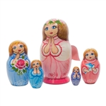 Your prayer has been answered...a fleet of five angels is coming your way in the form of a Russian nesting doll.  The largest has wooden 3-D wings attached, while the inner four have wings painted on their backs.  Each angel in this set looks heavenward