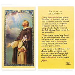 St. Dominic - Holy Card.  Plastic Coated. Picture is on the front, text is on the back of the card.
