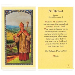 St. Richard - Holy Card.  Plastic Coated. Picture is on the front, text is on the back of the card.