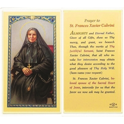 St. Frances Xavier Cabrini - Holy Card.  Plastic Coated. Picture is on the front, text is on the back of the card.