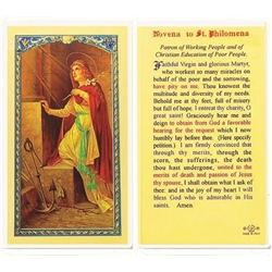 St. Philomena - Novena to Holy Card.  Plastic Coated. Picture is on the front, text is on the back of the card.