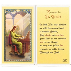 St. Cecilia - Holy Card.  Plastic Coated. Picture is on the front, text is on the back of the card.