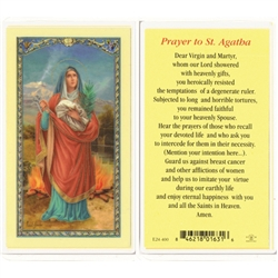 St. Agatha - Holy Card.  Plastic Coated. Picture is on the front, text is on the back of the card.