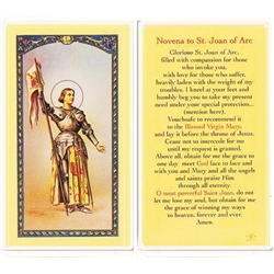 St. Joan of Arc - Holy Card.  Plastic Coated. Picture is on the front, text is on the back of the card.