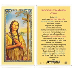 St. Kateri Tekakwitha - Holy Card.  Plastic Coated. Picture is on the front, text is on the back of the card.