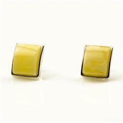 Baltic Amber post back earrings with Sterling Silver detail.