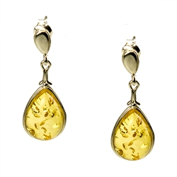Citrine Amber Teardrop Earrings with Sterling Silver setting and post backs.  Amber is soft, only slightly harder than talc, and should be treated with care.Amber is soft, only slightly harder than talc, and should be treated with care.