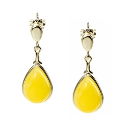 Custard Amber Teardrop Earrings set in Sterling Silver with post backs.  Amber is soft, only slightly harder than talc, and should be treated with care.Amber is soft, only slightly harder than talc, and should be treated with care.