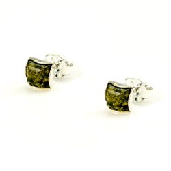 Baltic Amber stud earrings with Sterling Silver detail.