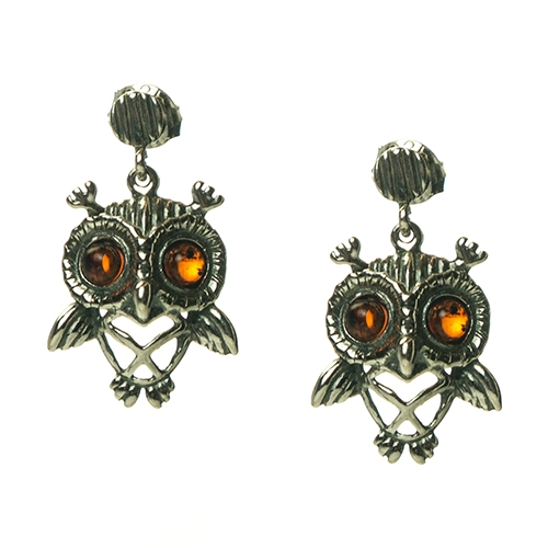 Charming Sterling Silver Owl Earrings With Cognac Amber Eyes