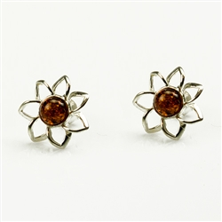 Cognac amber set in Sterling Silver.  Stylish and unique.