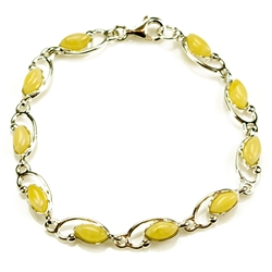 "Stylish 7.5"" - 18.5cm long bracelet composed of milky oval Baltic Amber beads."