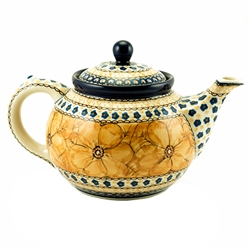 "Beautiful teapot with a 1.2 Liter (40oz) capacity (5 cups). Pattern designed by master artist Jacek Chyla! Hand made in Poland. The artist has been connected with the Artistic Handicraft Cooperative ""Artistic Ceramics and Pottery"" since 1986."