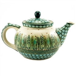 Beautiful teapot with a 1.2 Liter (40oz) capacity (5 cups). Pattern designed by Krystyna Dacyszyn