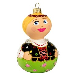 "This little dear is sure to be a real doll in your collection! Our 5"" tall Goralka dancer ornament showcases Poland's craftsmanship at its finest. This unique glass ornament is masterfully painted with glittering accents to add an extra fantastical appeal"