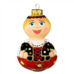 "This little dear is sure to be a real doll in your collection! Our 5"" tall Krakowianka dancer ornament showcases Poland's craftsmanship at its finest. This unique glass ornament is masterfully painted with glittering accents to add an extra fantastical"