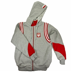 "This hooded jacket is part of our new collection from Poland for all of our Polish fans.  This very attractive jacket features the Polish Eagle emblem on the front and the word ""Polska"" (Poland) embroidered at the bottom on the reverse.  100% cotton."
