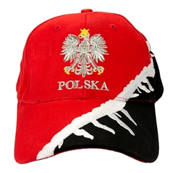 Stylish black and red cap with silver thread embroidery.  The front of the cap features a silver Polish Eagle with gold crown and talons. Features an adjustable cloth and metal tab in the back.  Designed to fit most people.