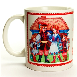 This attractive ceramic mug features families wearing the dress of two very popular Polish folk regions, Krakow and Lowicz. Dishwasher safe. Made In Poland.