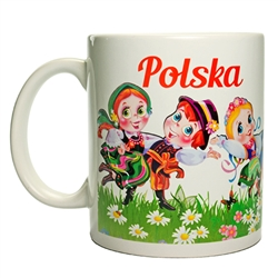This attractive ceramic mug features three pairs of dancers from the most well known Polish folk regions: Gorale, Krakowiak and Lowicz. Dishwasher safe. Made In Poland.