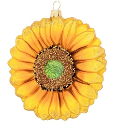 "Your tree will bloom with a sunny touch of summer delight when you display this magnificent flower ornament! Exquisitely crafted from formed glass in Poland with stunning glitter and microbead accents, this 4"" tall sunflower Christmas ornament is sure to"