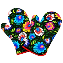 Colorful set (2) of oven mitts featuring a Polish paper cut design on a black background..