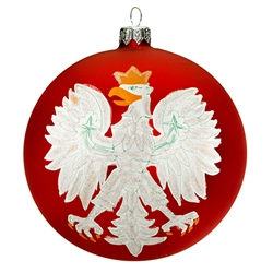 "Celebrate your unique heritage with this distinctive ornament depicting Poland's national symbol. Artfully hand painted by skilled glass artisans in Poland, our distinctive 4.5"" diameter ornament features a stylized white eagle with golden crown, beak and"