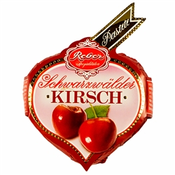 Pieces of cherry soaked in Kirschwasser on a bed of gourmet marzipan, covered with a layer of gourmet dark chocolate.  Contains alcohol so not for children.