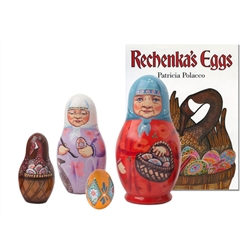 Here is a rare opportunity to get the Rechenka's Eggs book and nesting doll together.  In the book Rechenka's Eggs, author Patricia Polacco tells us about an old woman who paints Ukrainian pisanki Easter eggs, and the magical adventure she has with a wild